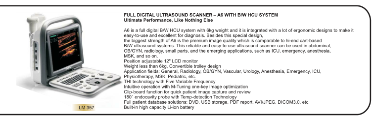 FULL DIGITAL ULTRASOUND SCANNER – A6 WITH B/W HCU SYSTEM