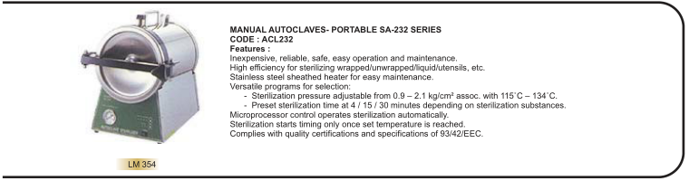 MANUAL AUTOCLAVES- PORTABLE SA-232 SERIES CODE : ACL232